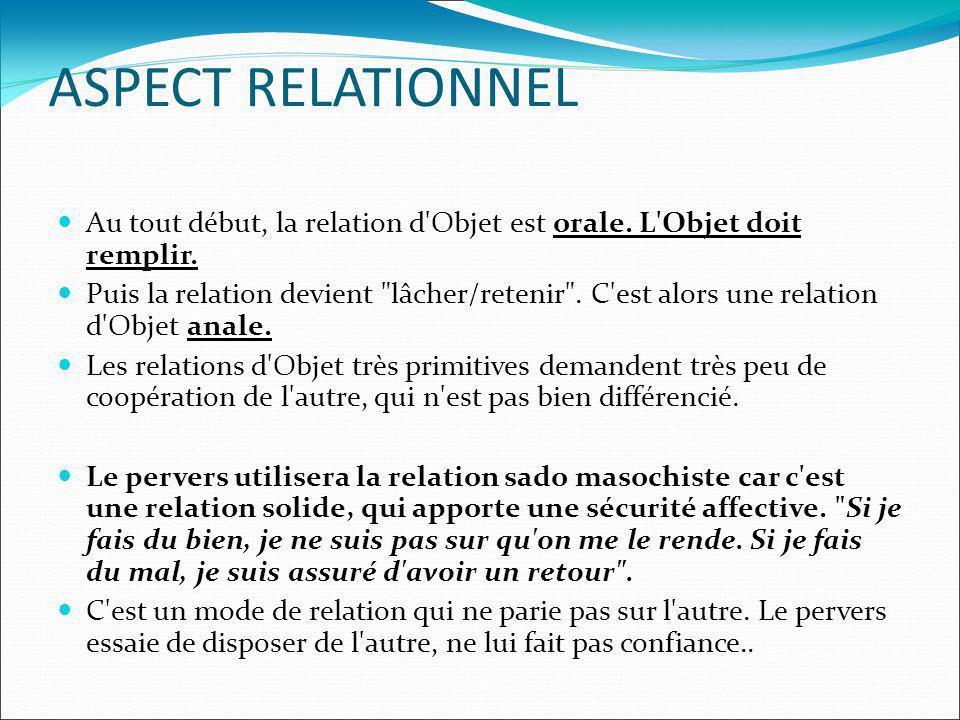ASPECT RELATIONNEL Au tout début, la relation d'Objet est orale. L'Objet doit remplir. Puis la relation devient