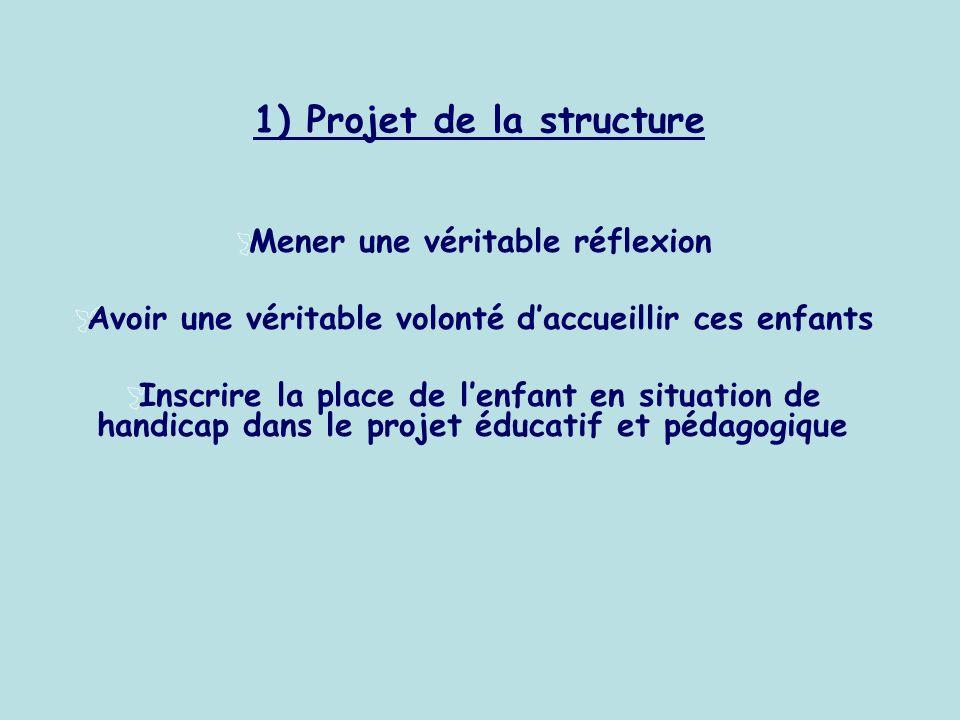 1) Projet de la structure Mener une véritable réflexion Avoir une véritable volonté daccueillir ces enfants Inscrire la place de lenfant en situation