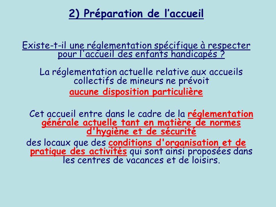 2) Préparation de laccueil Existe-t-il une réglementation spécifique à respecter pour l'accueil des enfants handicapés ? La réglementation actuelle re