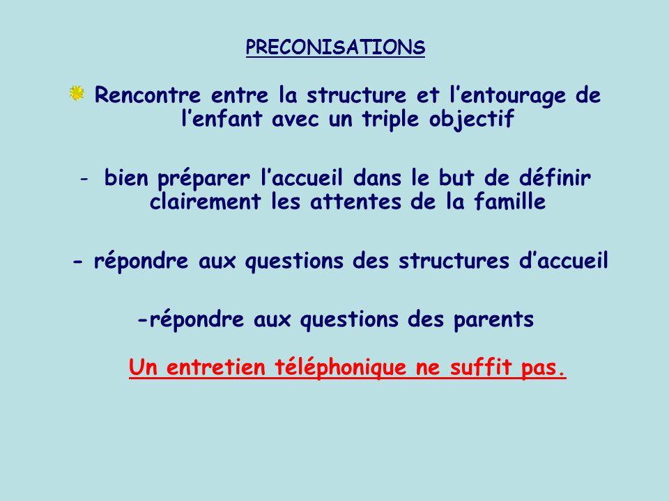 PRECONISATIONS Rencontre entre la structure et lentourage de lenfant avec un triple objectif -bien préparer laccueil dans le but de définir clairement