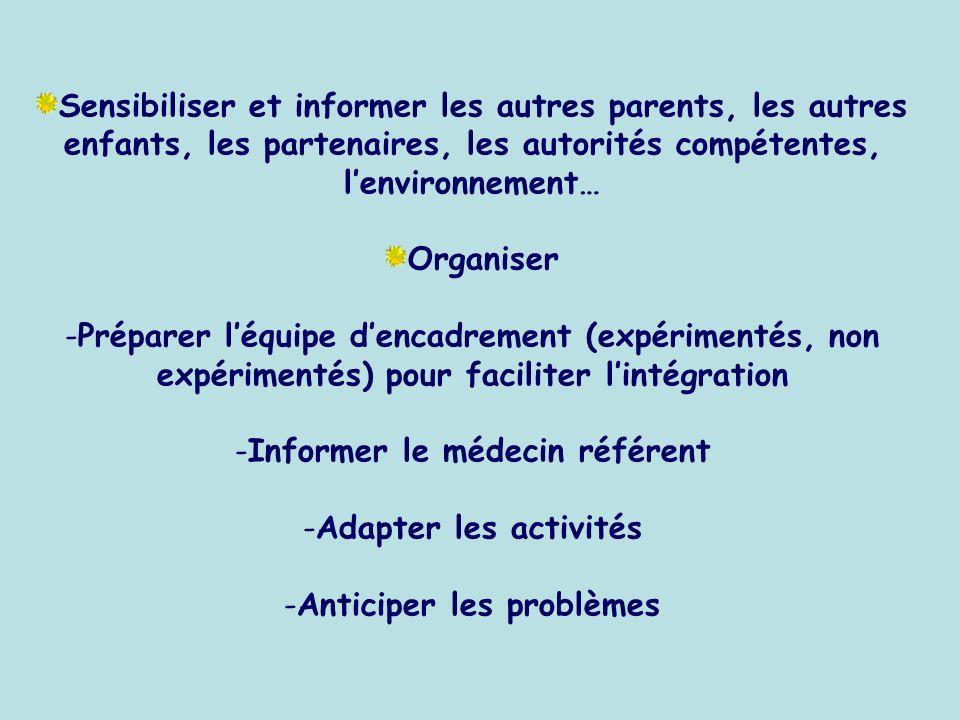 Sensibiliser et informer les autres parents, les autres enfants, les partenaires, les autorités compétentes, lenvironnement… Organiser -Préparer léqui
