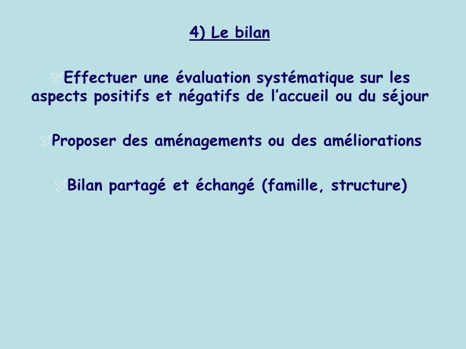 4) Le bilan Effectuer une évaluation systématique sur les aspects positifs et négatifs de laccueil ou du séjour Proposer des aménagements ou des améli