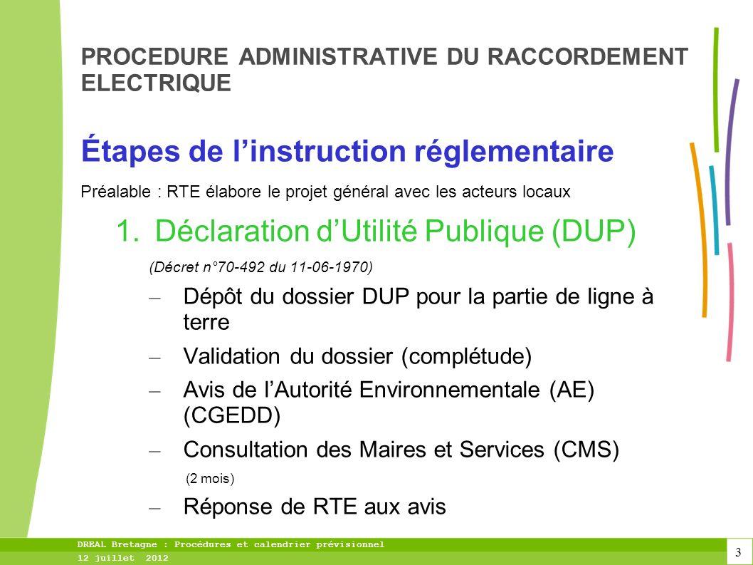 4 DREAL Bretagne : Procédures et calendrier prévisionnel 12 juillet 2012 PROCEDURE ADMINISTRATIVE DU RACCORDEMENT ELECTRIQUE Étapes de linstruction réglementaire (suite) 2.Enquête Publique (EP) – Saisine du Tribunal Administratif pour désignation du Commissaire Enquêteur ou de la Commission dEnquête (CE) – Publicités - affichage – Déroulement de lenquête – Sur la base du dossier DUP + avis AE + compléments éventuels – 1mois pouvant être prolongée dun mois – Rapport, conclusion et avis motivé du CE