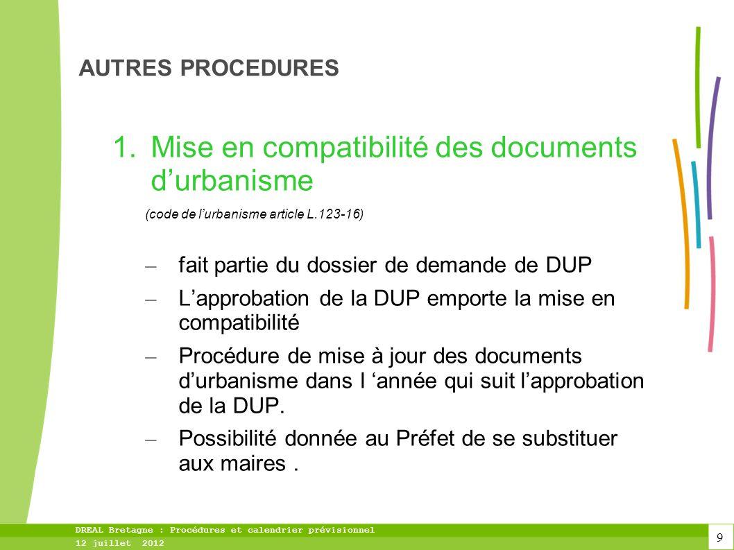 10 DREAL Bretagne : Procédures et calendrier prévisionnel 12 juillet 2012 AUTRES PROCEDURES 2.Autorisation du poste au titre de lurbanisme (code de lurbanisme art.