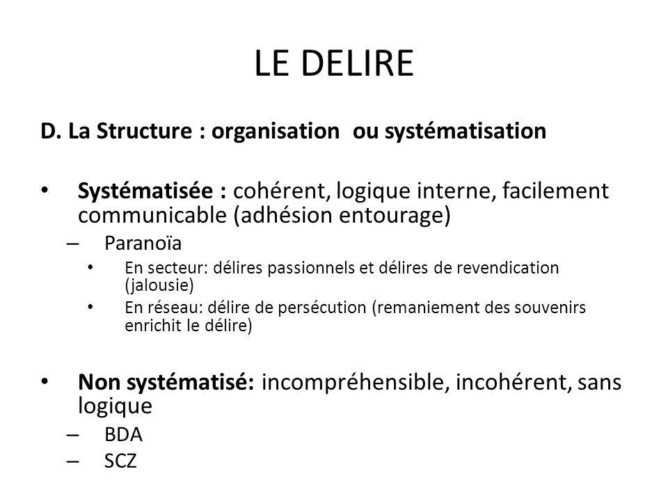 LE DELIRE D. La Structure : organisation ou systématisation Systématisée : cohérent, logique interne, facilement communicable (adhésion entourage) – P