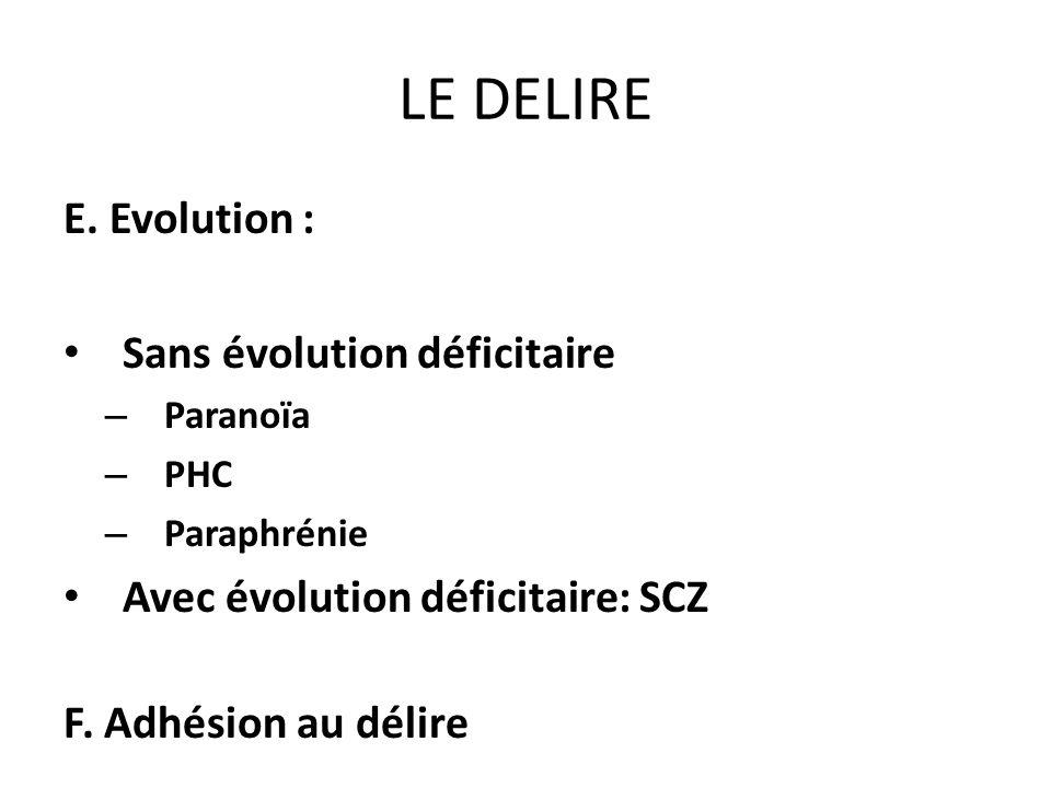 LE DELIRE E. Evolution : Sans évolution déficitaire – Paranoïa – PHC – Paraphrénie Avec évolution déficitaire: SCZ F. Adhésion au délire