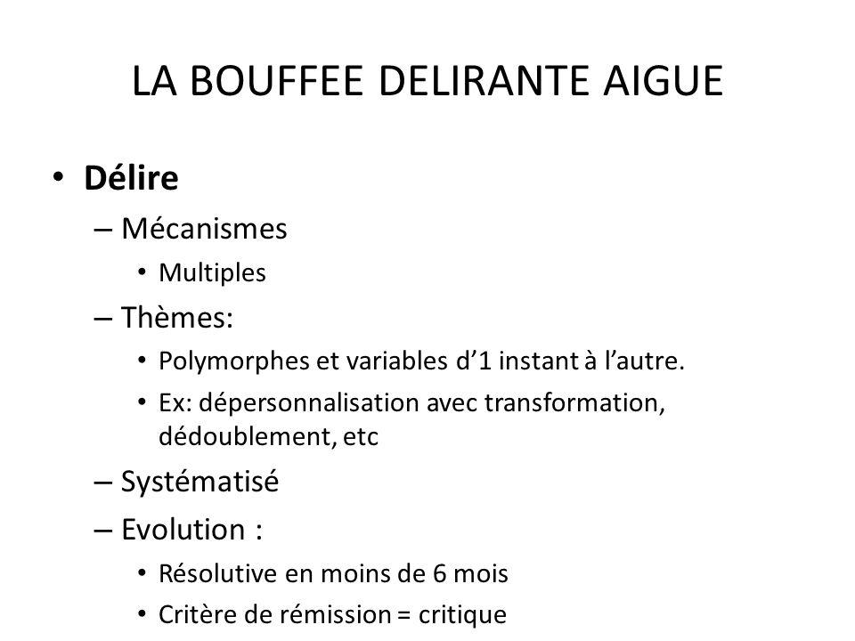 LA BOUFFEE DELIRANTE AIGUE Délire – Mécanismes Multiples – Thèmes: Polymorphes et variables d1 instant à lautre. Ex: dépersonnalisation avec transform