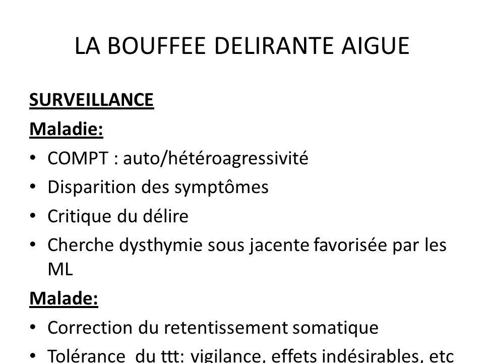 LA BOUFFEE DELIRANTE AIGUE SURVEILLANCE Maladie: COMPT : auto/hétéroagressivité Disparition des symptômes Critique du délire Cherche dysthymie sous ja