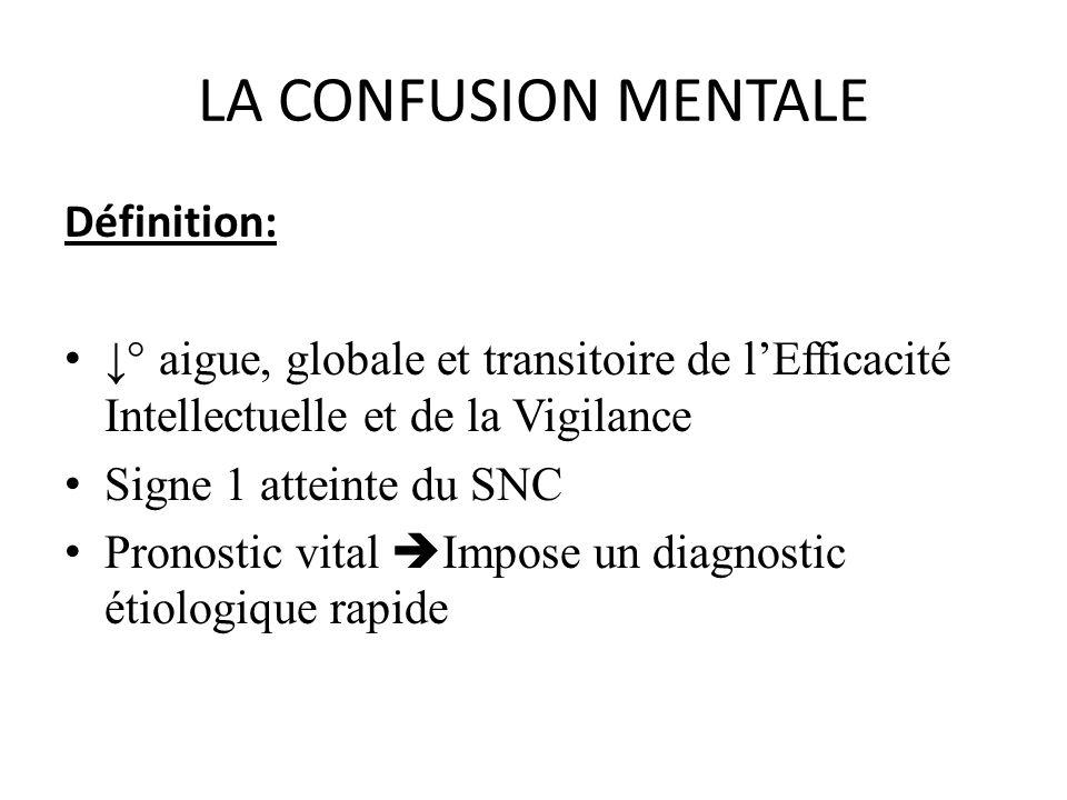 LA CONFUSION MENTALE Définition: ° aigue, globale et transitoire de lEfficacité Intellectuelle et de la Vigilance Signe 1 atteinte du SNC Pronostic vi