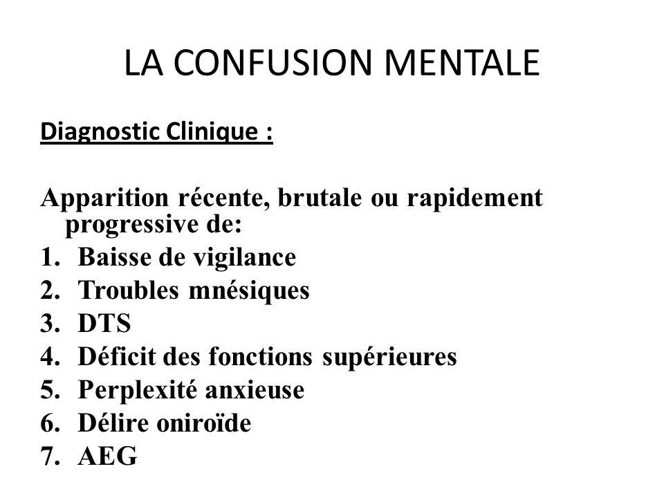 LA CONFUSION MENTALE Diagnostic Clinique : Apparition récente, brutale ou rapidement progressive de: 1.Baisse de vigilance 2.Troubles mnésiques 3.DTS