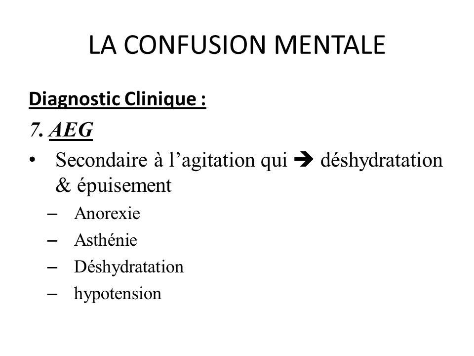 LA CONFUSION MENTALE Diagnostic Clinique : 7. AEG Secondaire à lagitation qui déshydratation & épuisement – Anorexie – Asthénie – Déshydratation – hyp