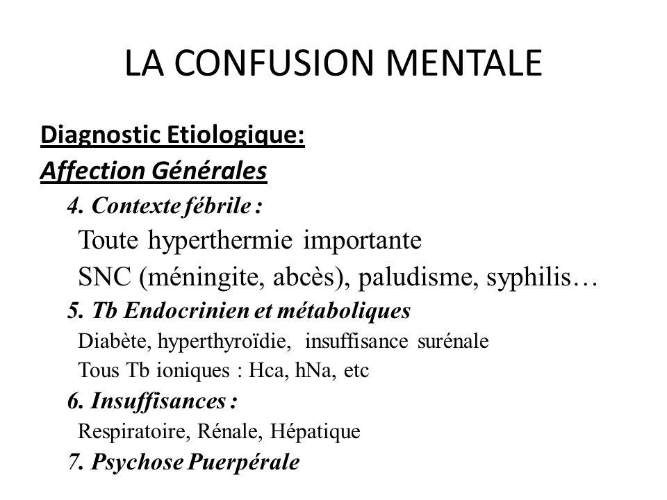 LA CONFUSION MENTALE Diagnostic Etiologique: Affection Générales 4. Contexte fébrile : Toute hyperthermie importante SNC (méningite, abcès), paludisme