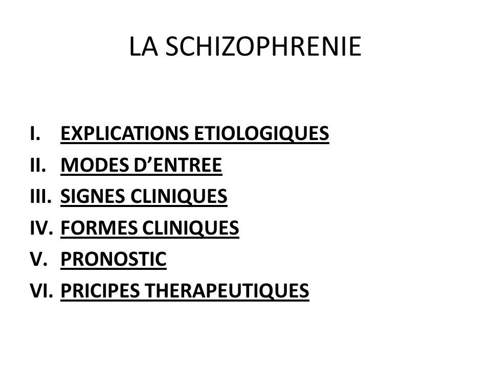 LA SCHIZOPHRENIE I.EXPLICATIONS ETIOLOGIQUES II.MODES DENTREE III.SIGNES CLINIQUES IV.FORMES CLINIQUES V.PRONOSTIC VI.PRICIPES THERAPEUTIQUES