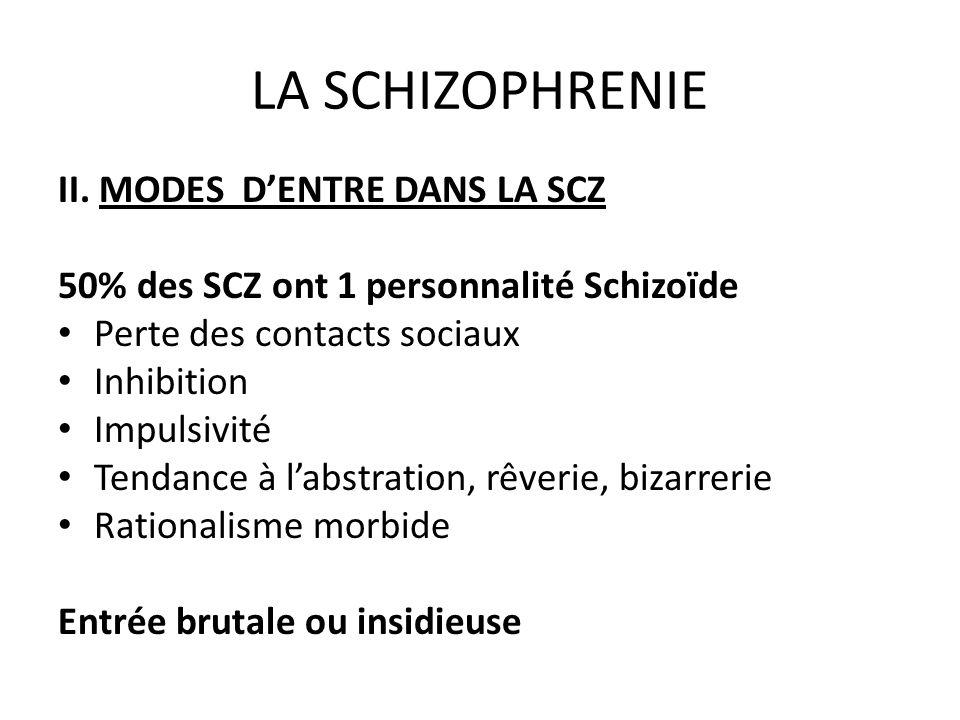 LA SCHIZOPHRENIE II. MODES DENTRE DANS LA SCZ 50% des SCZ ont 1 personnalité Schizoïde Perte des contacts sociaux Inhibition Impulsivité Tendance à la