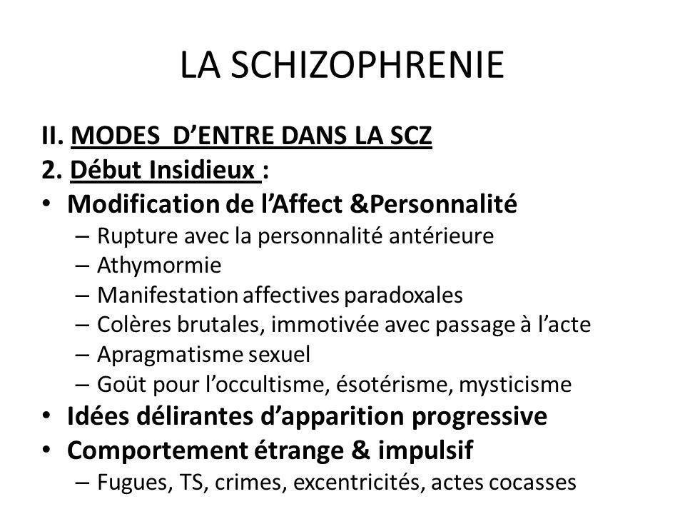 LA SCHIZOPHRENIE II. MODES DENTRE DANS LA SCZ 2. Début Insidieux : Modification de lAffect &Personnalité – Rupture avec la personnalité antérieure – A