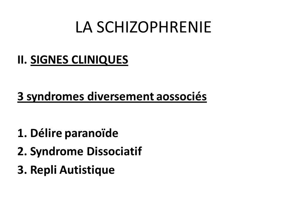LA SCHIZOPHRENIE II. SIGNES CLINIQUES 3 syndromes diversement aossociés 1. Délire paranoïde 2. Syndrome Dissociatif 3. Repli Autistique