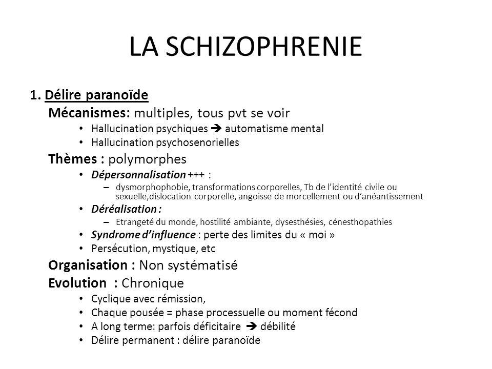 LA SCHIZOPHRENIE 1. Délire paranoïde Mécanismes: multiples, tous pvt se voir Hallucination psychiques automatisme mental Hallucination psychosenoriell