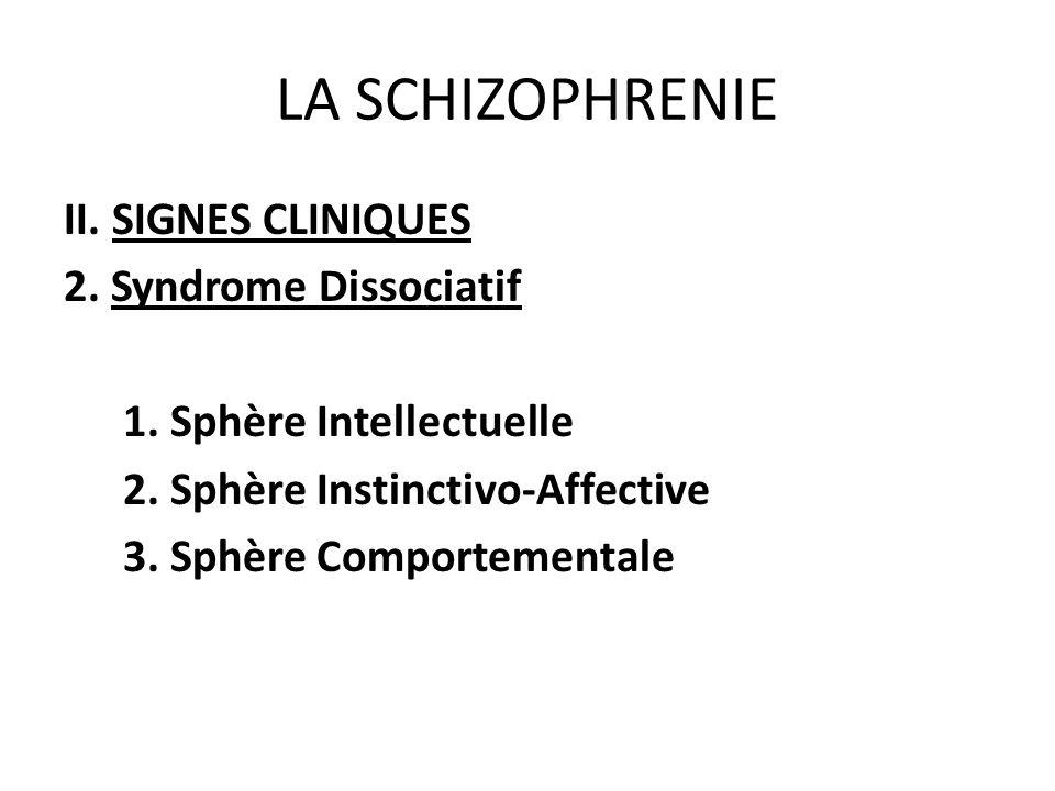 LA SCHIZOPHRENIE II. SIGNES CLINIQUES 2. Syndrome Dissociatif 1. Sphère Intellectuelle 2. Sphère Instinctivo-Affective 3. Sphère Comportementale