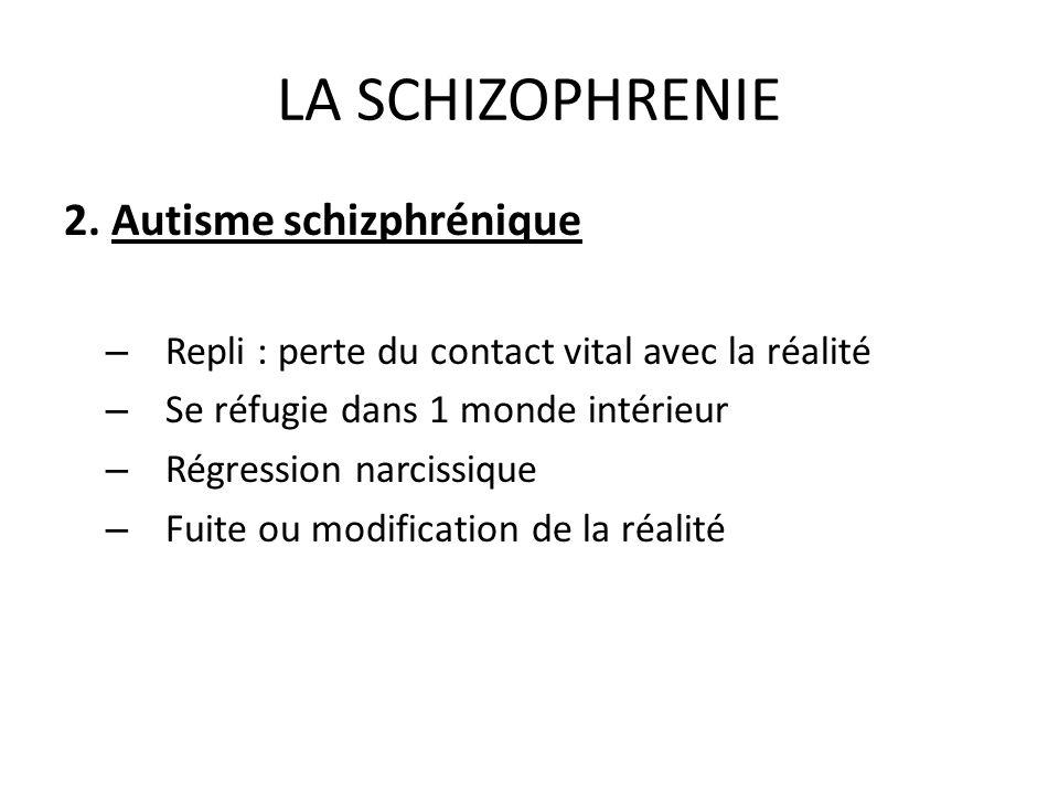 LA SCHIZOPHRENIE 2. Autisme schizphrénique – Repli : perte du contact vital avec la réalité – Se réfugie dans 1 monde intérieur – Régression narcissiq