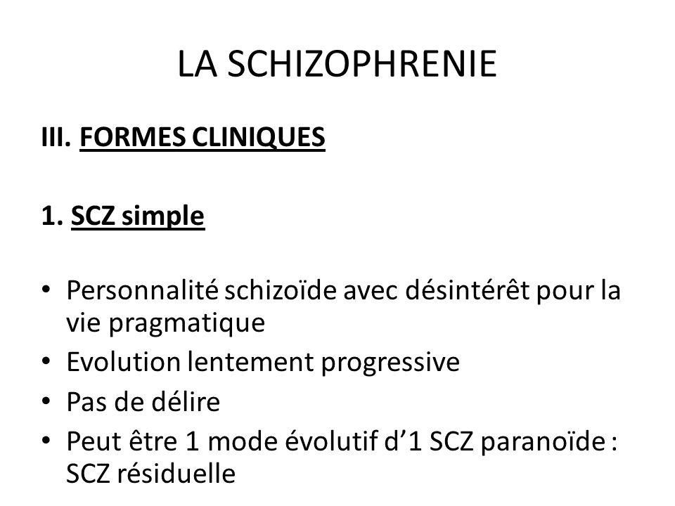 LA SCHIZOPHRENIE III. FORMES CLINIQUES 1. SCZ simple Personnalité schizoïde avec désintérêt pour la vie pragmatique Evolution lentement progressive Pa
