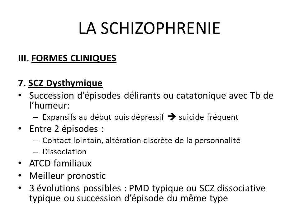 LA SCHIZOPHRENIE III. FORMES CLINIQUES 7. SCZ Dysthymique Succession dépisodes délirants ou catatonique avec Tb de lhumeur: – Expansifs au début puis