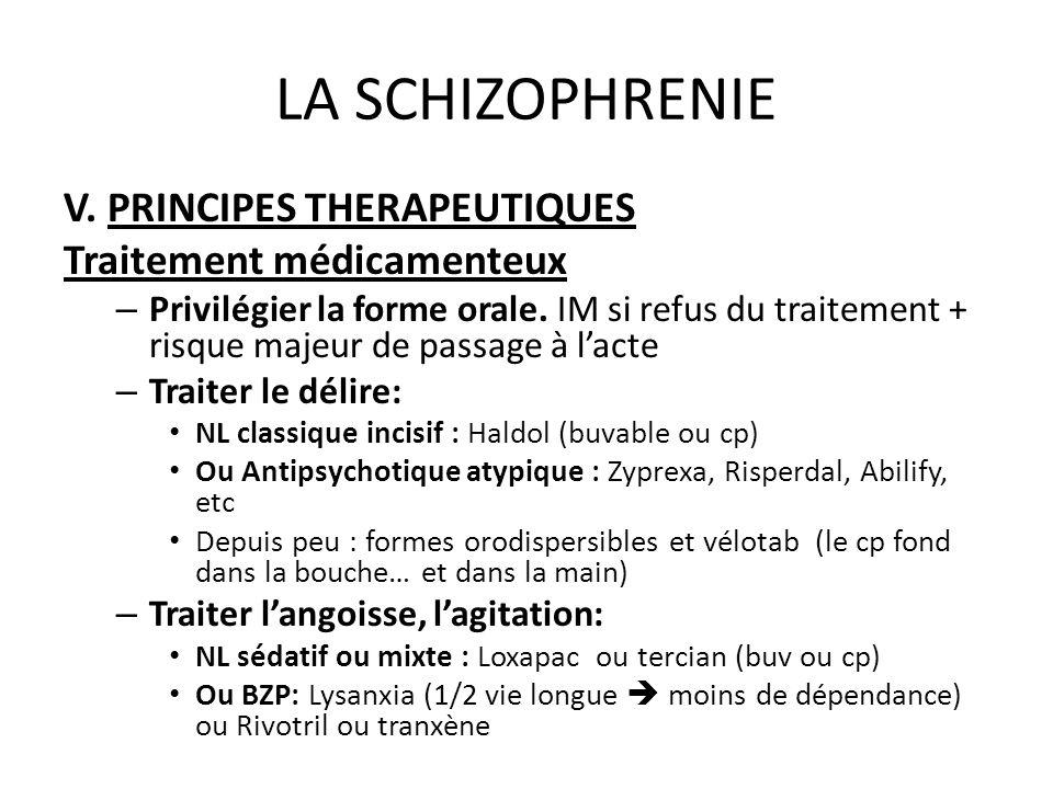 LA SCHIZOPHRENIE V. PRINCIPES THERAPEUTIQUES Traitement médicamenteux – Privilégier la forme orale. IM si refus du traitement + risque majeur de passa