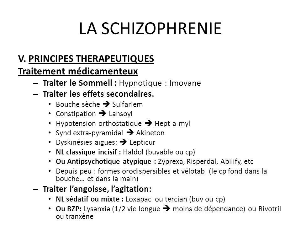 LA SCHIZOPHRENIE V. PRINCIPES THERAPEUTIQUES Traitement médicamenteux – Traiter le Sommeil : Hypnotique : Imovane – Traiter les effets secondaires. Bo