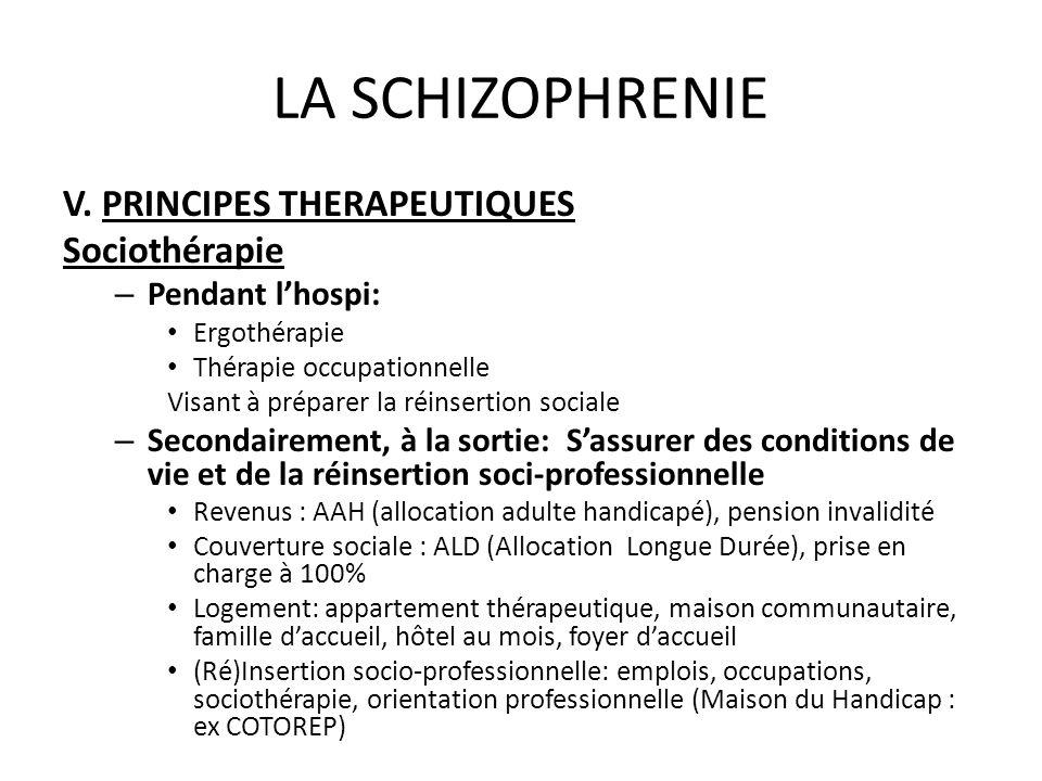 LA SCHIZOPHRENIE V. PRINCIPES THERAPEUTIQUES Sociothérapie – Pendant lhospi: Ergothérapie Thérapie occupationnelle Visant à préparer la réinsertion so