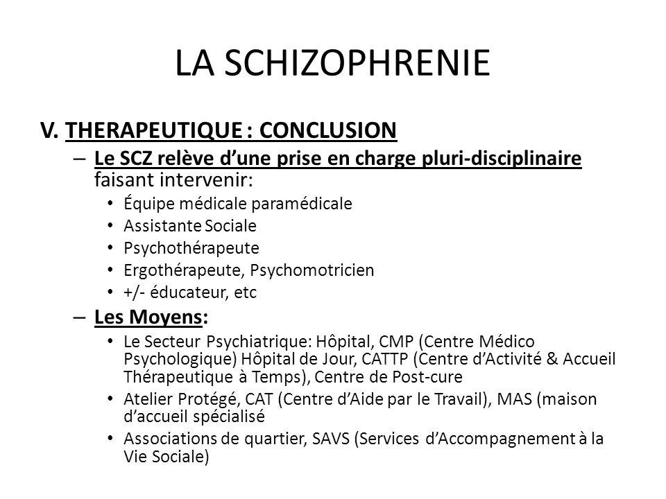 LA SCHIZOPHRENIE V. THERAPEUTIQUE : CONCLUSION – Le SCZ relève dune prise en charge pluri-disciplinaire faisant intervenir: Équipe médicale paramédica
