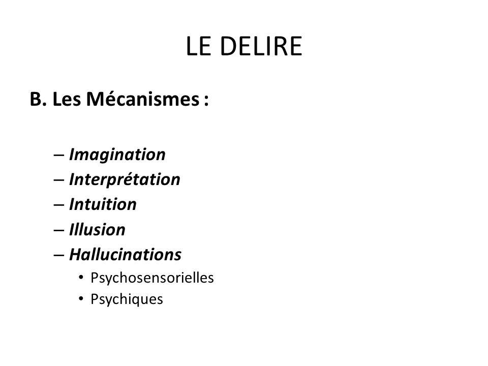 LE DELIRE B. Les Mécanismes : – Imagination – Interprétation – Intuition – Illusion – Hallucinations Psychosensorielles Psychiques