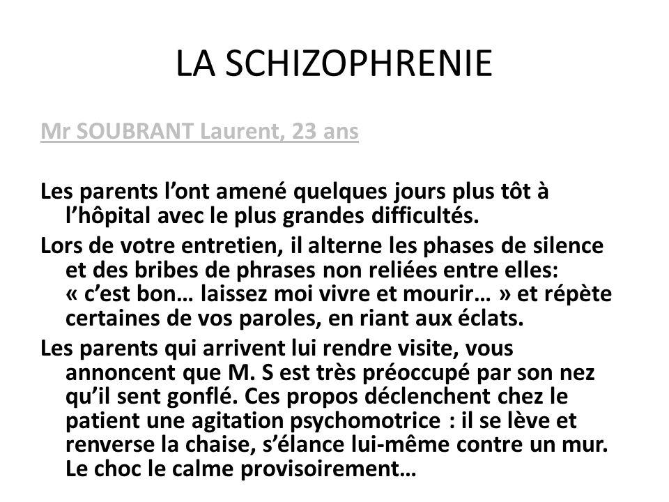 LA SCHIZOPHRENIE Mr SOUBRANT Laurent, 23 ans Les parents lont amené quelques jours plus tôt à lhôpital avec le plus grandes difficultés. Lors de votre