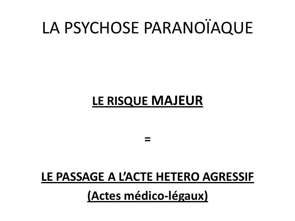 LA PSYCHOSE PARANOÏAQUE LE RISQUE MAJEUR = LE PASSAGE A LACTE HETERO AGRESSIF (Actes médico-légaux)