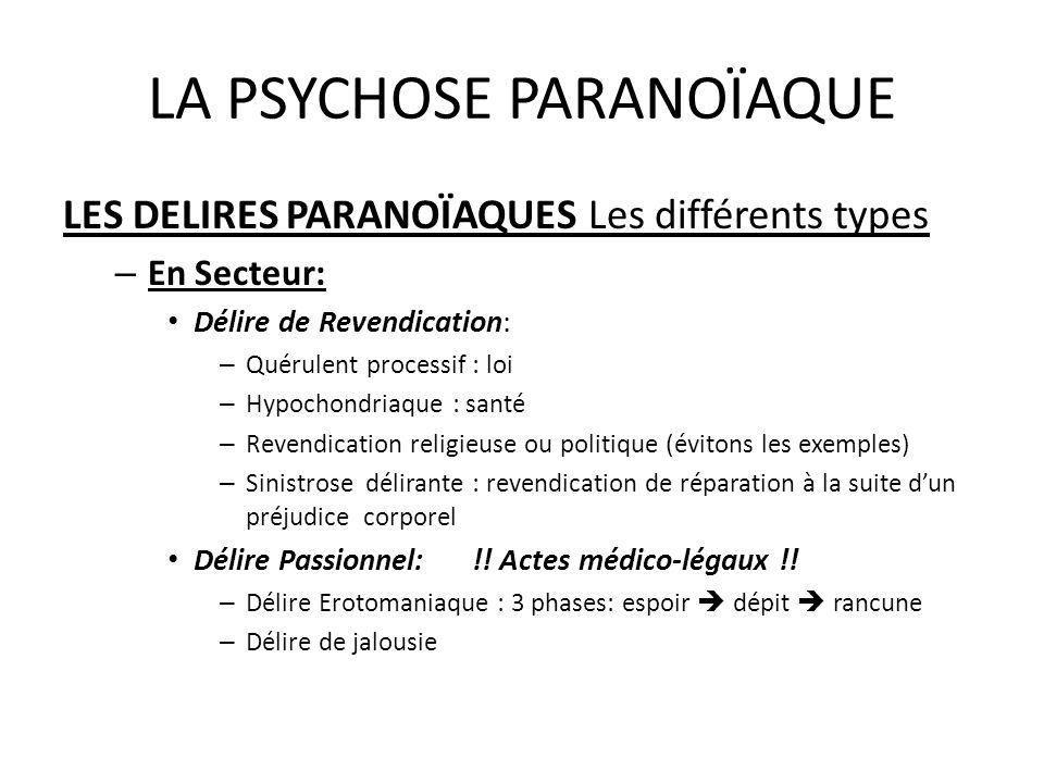 LA PSYCHOSE PARANOÏAQUE LES DELIRES PARANOÏAQUES Les différents types – En Secteur: Délire de Revendication: – Quérulent processif : loi – Hypochondri