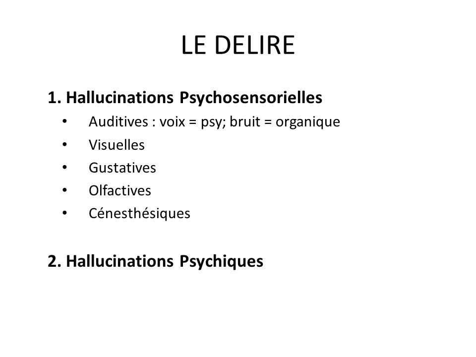 LE DELIRE 1. Hallucinations Psychosensorielles Auditives : voix = psy; bruit = organique Visuelles Gustatives Olfactives Cénesthésiques 2. Hallucinati
