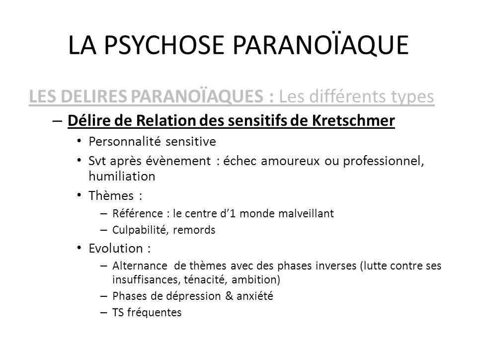 LA PSYCHOSE PARANOÏAQUE LES DELIRES PARANOÏAQUES : Les différents types – Délire de Relation des sensitifs de Kretschmer Personnalité sensitive Svt ap