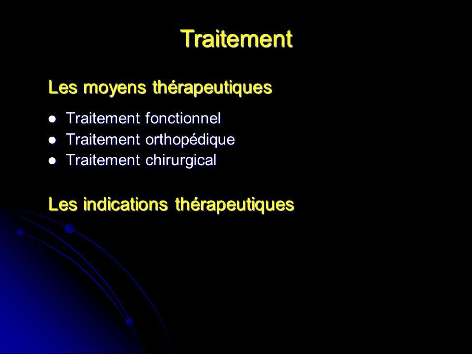Traitement Les moyens thérapeutiques Traitement fonctionnel Traitement fonctionnel Traitement orthopédique Traitement orthopédique Traitement chirurgi