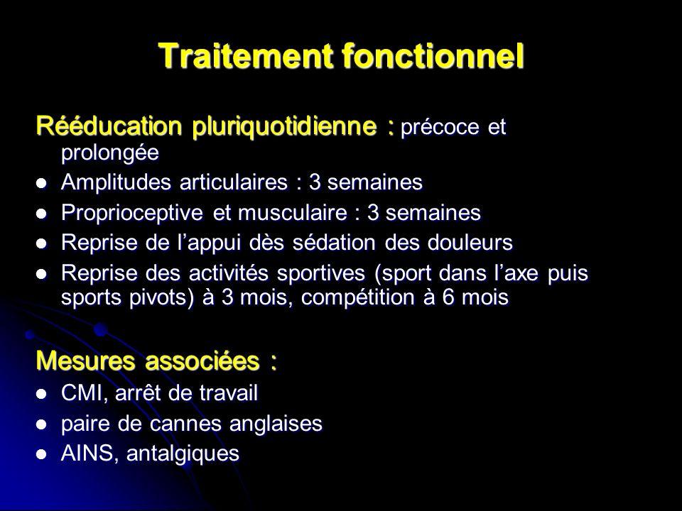 Traitement fonctionnel Rééducation pluriquotidienne : précoce et prolongée Amplitudes articulaires : 3 semaines Amplitudes articulaires : 3 semaines P