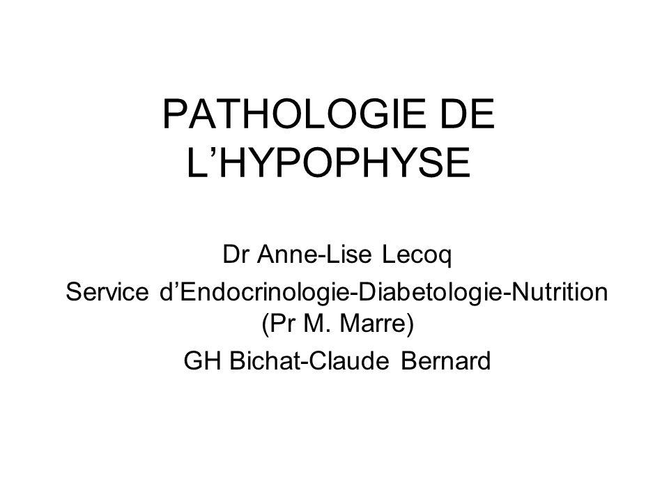 PATHOLOGIE DE LHYPOPHYSE Dr Anne-Lise Lecoq Service dEndocrinologie-Diabetologie-Nutrition (Pr M. Marre) GH Bichat-Claude Bernard