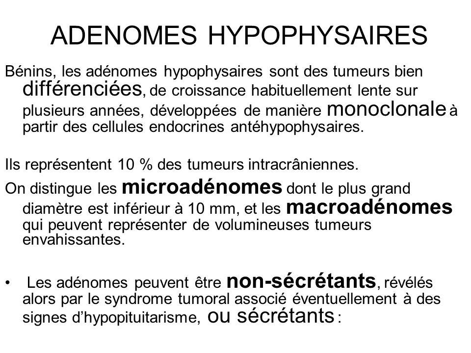 ADENOMES HYPOPHYSAIRES Bénins, les adénomes hypophysaires sont des tumeurs bien différenciées, de croissance habituellement lente sur plusieurs années