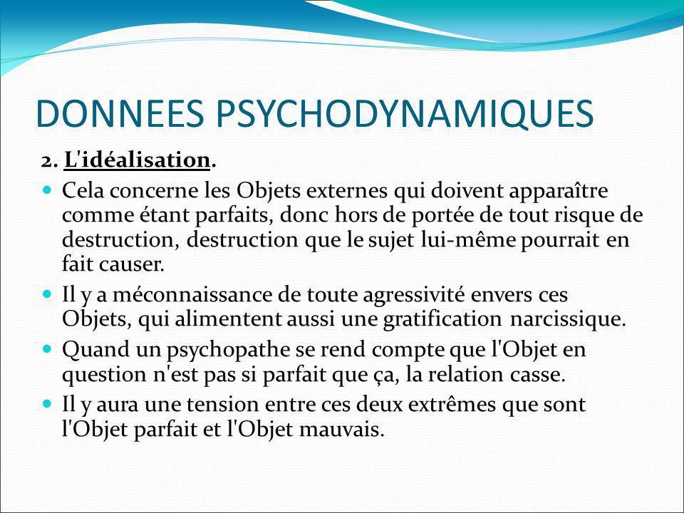 DONNEES PSYCHODYNAMIQUES 2. L idéalisation.
