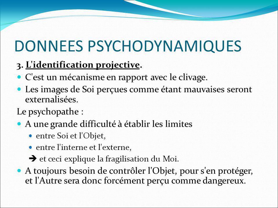 DONNEES PSYCHODYNAMIQUES 3. L'identification projective. C'est un mécanisme en rapport avec le clivage. Les images de Soi perçues comme étant mauvaise