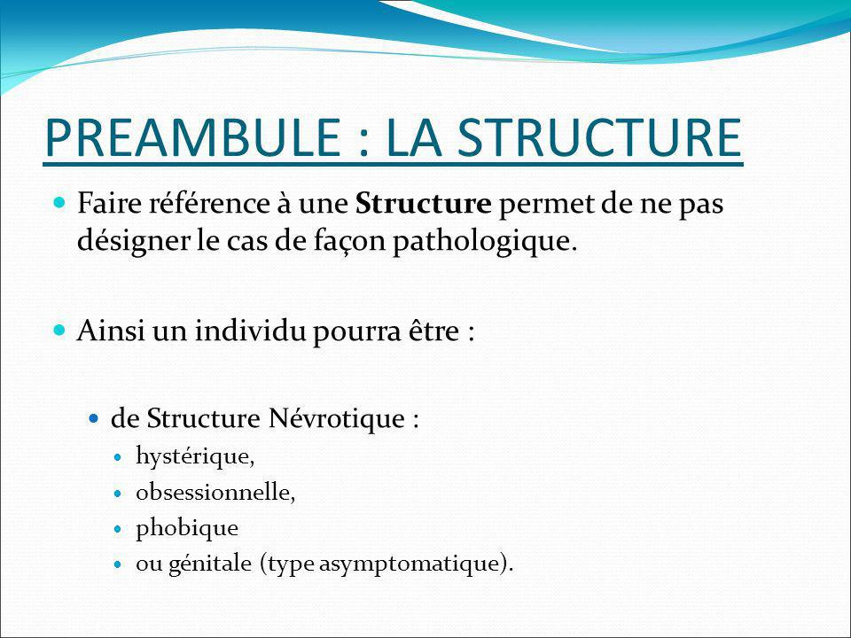 PREAMBULE : LA STRUCTURE Faire référence à une Structure permet de ne pas désigner le cas de façon pathologique. Ainsi un individu pourra être : de St