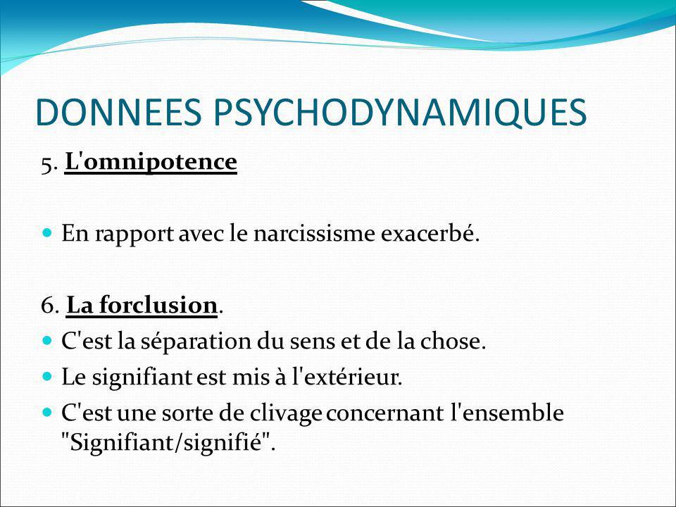 DONNEES PSYCHODYNAMIQUES 5. L'omnipotence En rapport avec le narcissisme exacerbé. 6. La forclusion. C'est la séparation du sens et de la chose. Le si