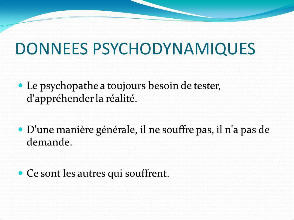 DONNEES PSYCHODYNAMIQUES Le psychopathe a toujours besoin de tester, d'appréhender la réalité. D'une manière générale, il ne souffre pas, il n'a pas d