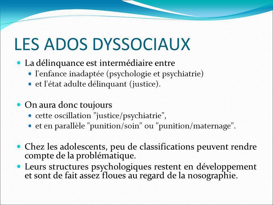 LES ADOS DYSSOCIAUX La délinquance est intermédiaire entre l enfance inadaptée (psychologie et psychiatrie) et l état adulte délinquant (justice).