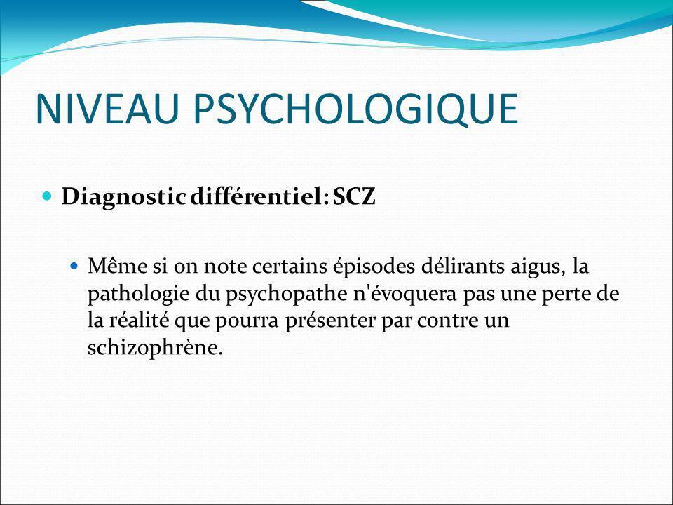 NIVEAU PSYCHOLOGIQUE Diagnostic différentiel: SCZ Même si on note certains épisodes délirants aigus, la pathologie du psychopathe n évoquera pas une perte de la réalité que pourra présenter par contre un schizophrène.