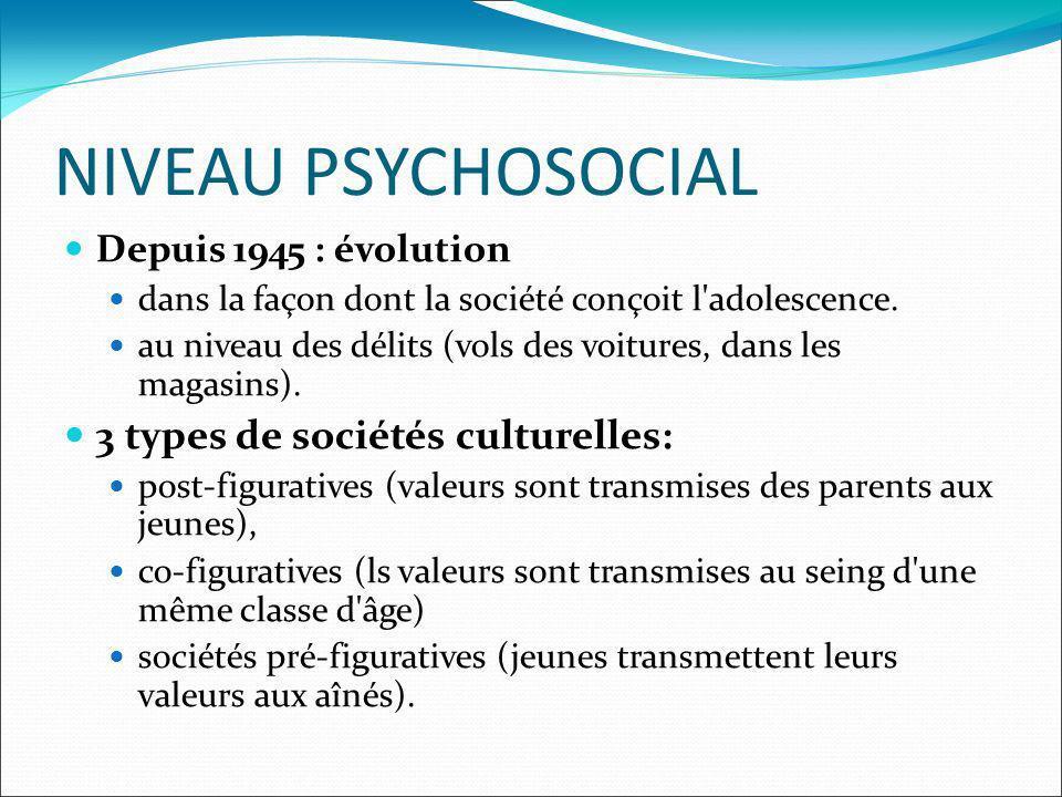 NIVEAU PSYCHOSOCIAL Depuis 1945 : évolution dans la façon dont la société conçoit l'adolescence. au niveau des délits (vols des voitures, dans les mag