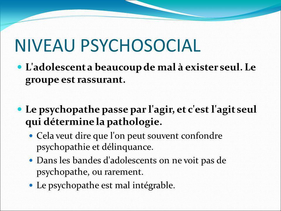 NIVEAU PSYCHOSOCIAL L'adolescent a beaucoup de mal à exister seul. Le groupe est rassurant. Le psychopathe passe par l'agir, et c'est l'agit seul qui