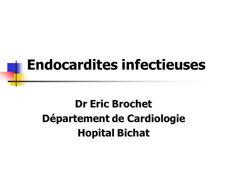 Endocardites infectieuses Dr Eric Brochet Département de Cardiologie Hopital Bichat