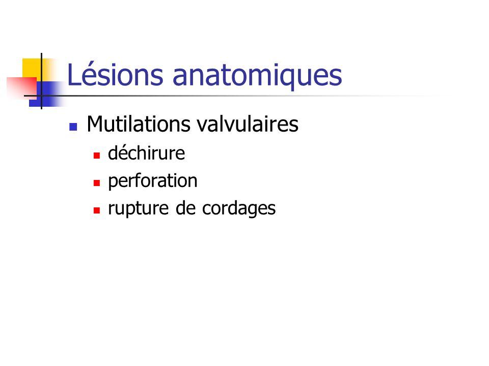 Lésions anatomiques Mutilations valvulaires déchirure perforation rupture de cordages